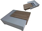 Sohvapöytä laatikoilla PAMPLONA 82,5x80 cm AQ-100031