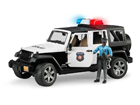 JEEP WRANGLER poliisiauto äänellä ja valolla+poliisihahmo 1:16 BRUDER KL-107096