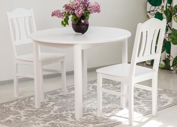 Ruokailuryhmä 100x100-139 cm + tuolit PER 2 kpl, valkoinen EC-116852