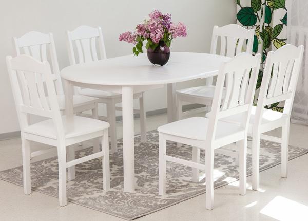 Ruokailuryhmä 100x100-139 cm + tuolit PER 6 kpl EC-116853