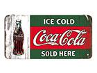 Retro metallijuliste COCA-COLA ICE COLD SOLD HERE 10x20 cm SG-118346