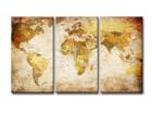 Kolmeosainen seinätaulu WORLD MAP 120x80 cm ED-119299