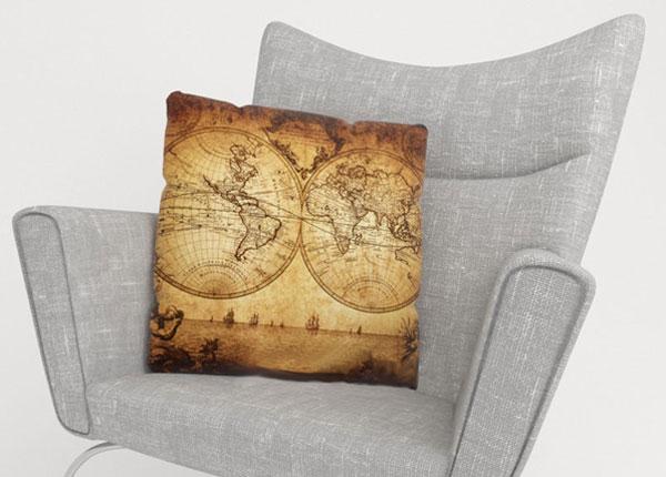 Koristetyynyliina OLD MAP 45x45 cm ED-124007