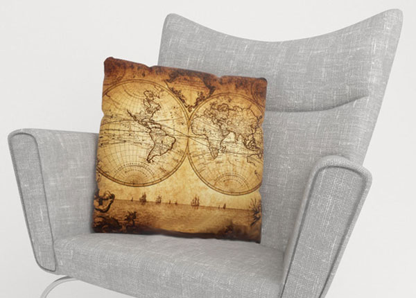 Koristetyynyliina OLD MAP 50x50 cm ED-124009