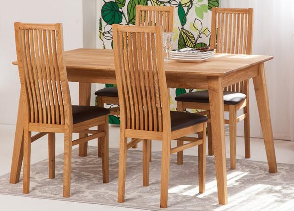 Tammi ruokapöytä GENF 160x90 cm + 4 tuolia SANDRA EC-125535