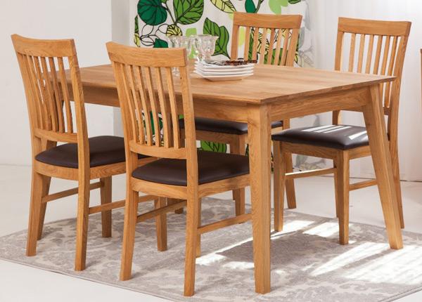 Tammi ruokapöytä GENF 160x90 cm + 4 tuolia RONNY EC-125537