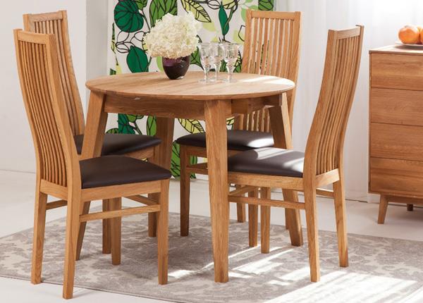 Tammi jatkettava ruokapöytä BASEL 110-160x110 cm + 4 tuolia SANDRA EC-125606
