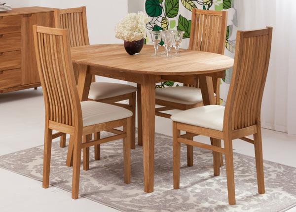 Tammi jatkettava ruokapöytä BASEL 110-160x110 cm + 4 tuolia SANDRA EC-125608