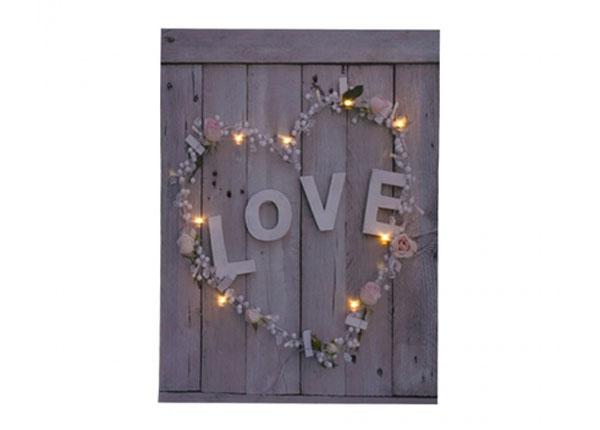 LED taulu LOVE & FLOWER HEART 50x70 cm ED-125632