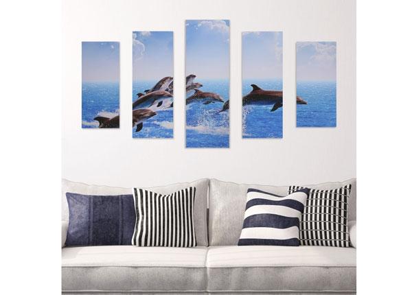 Viisiosainen seinätaulu JUMPING DOLPHINS 160x60 cm ED-125683
