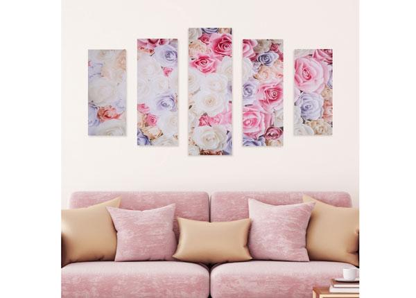 Viisiosainen seinätaulu ROSE PETALS 160x60 cm ED-125685