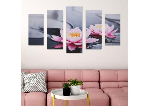 Viisiosainen seinätaulu WATER LILY 160x60 cm ED-125686