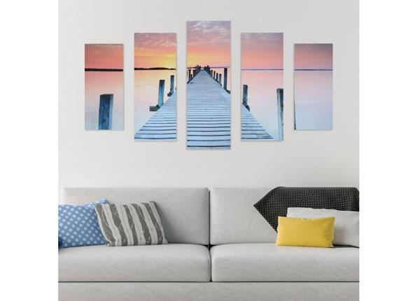 Viisiosainen seinätaulu FOOTBRIDGe & SUNSET 160x60 cm ED-125687