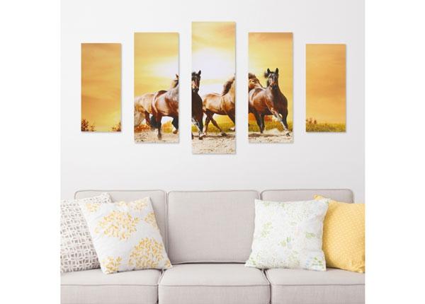 Viisiosainen seinätaulu HORSE & SUNSET 160x60 cm ED-125688