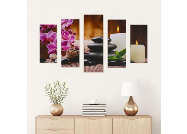 Viisiosainen seinätaulu STONES & CANDLE 160x60 cm ED-125690