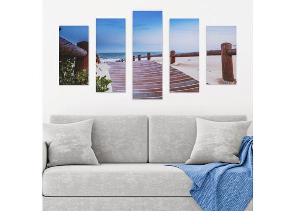 Viisiosainen seinätaulu BEACH WALKWAY 160x60 cm ED-125692