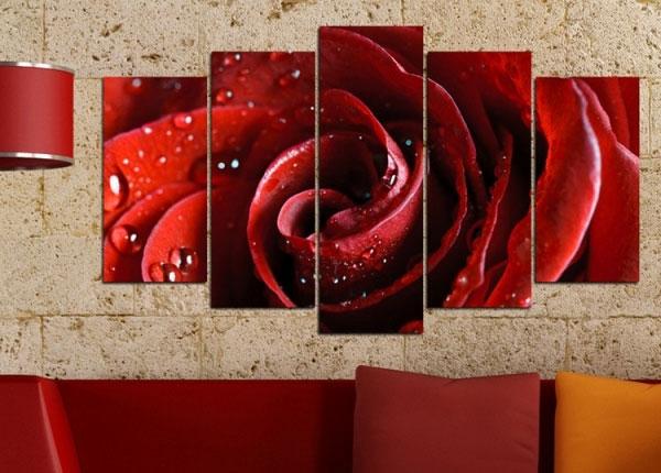 Viisiosainen seinätaulu ROSE MOTIF 100x60 cm ED-125835