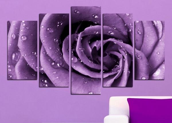 Viisiosainen seinätaulu ROSE MOTIF 100x60 cm