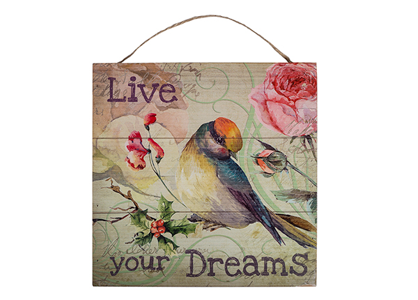 Puutaulu LIVE YOUR DREAMS 30x30 cm EV-128191