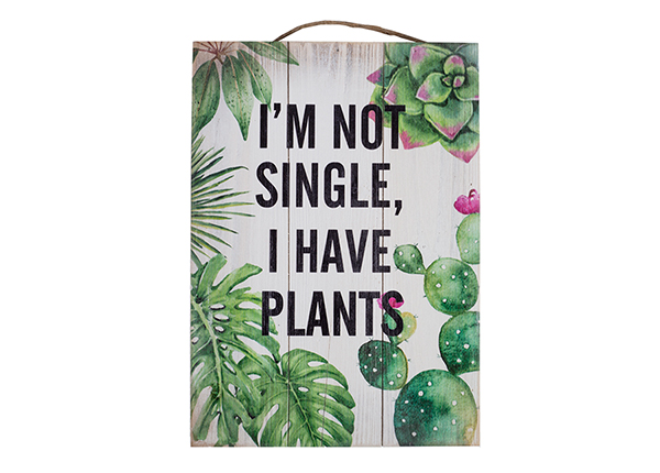 Puutaulu I`M NOT SINGLE, I HAVE PLANTS 25x35 cm EV-128192