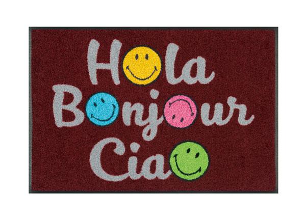 Ovimatto SMILEY HOLA BONJOUR CIAO 50x75 cm A5-128308