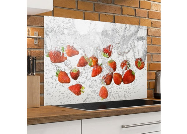 Kuvalasi/ välitilan lasi FRESH STRAWBERRIES IN WATER 40x60 cm