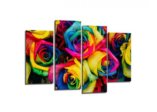 Neliosainen seinätaulu ROSES 80x130 cm ED-130561