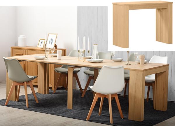 Seinäpöytä / jatkettava ruokapöytä PENINSULE 42-264x95 cm