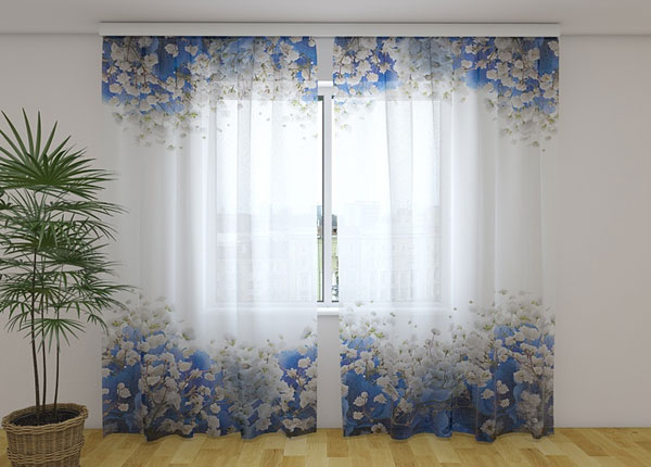Sifonki-kuvaverho BLUE HYDRANGEA 240x220 cm ED-131437