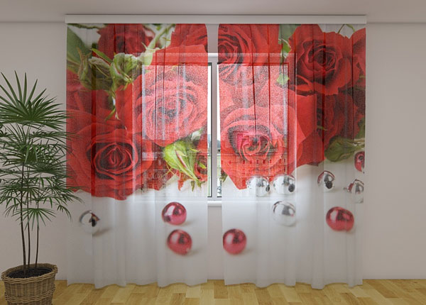 Sifonki-kuvaverho ROSE AND BEADS 240x220 cm ED-131496