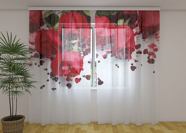 Sifonki-kuvaverho ROSES AND HEARTS 240x220 cm ED-131498