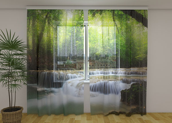 Sifonki-kuvaverho WATERFALL IN SPRING FOREST 240x220 cm ED-131516