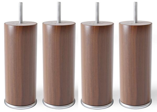 Pyöreät puujalat metallireunalla 15 cm SW-132180