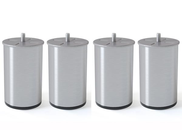 Silinterimuotoinen metallijalka, harjattu hopeansävy 10 cm SW-132618