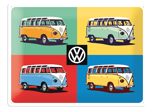 Retrotyylinen metallijuliste VW BULLI PP ART 4 AUTOA 30x40 cm SG-132753