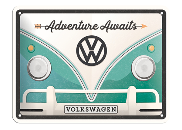 Retrotyylinen metallijuliste VW BULLI ADVENTURE AWAITS 15x20 cm SG-132754