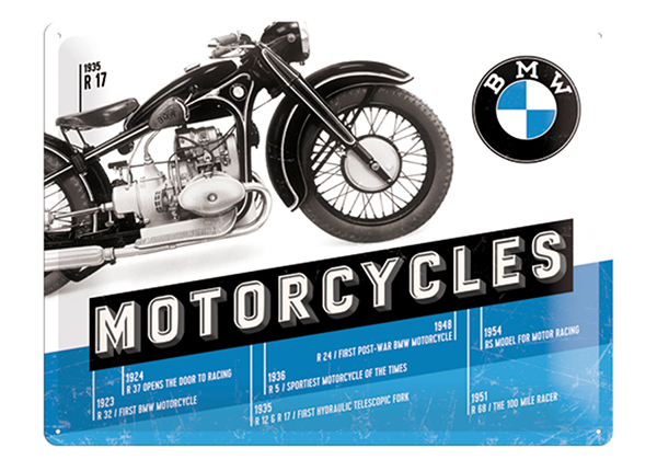 Retrotyylinen metallijuliste BMW MOTORCYCLES R 17 30x40 cm SG-132755