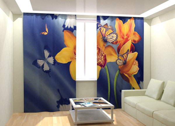 Kuvaverhot YELLOW ORCHIDS AND BUTTERFLIES 300x260 cm AÄ-133039