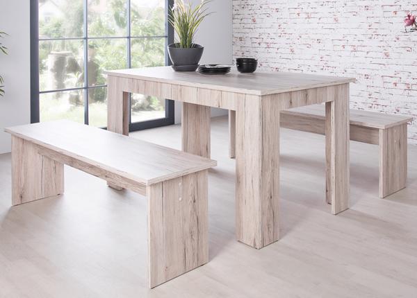 Ruokapöytä 160x90 cm + 2 penkkiä CM-133491