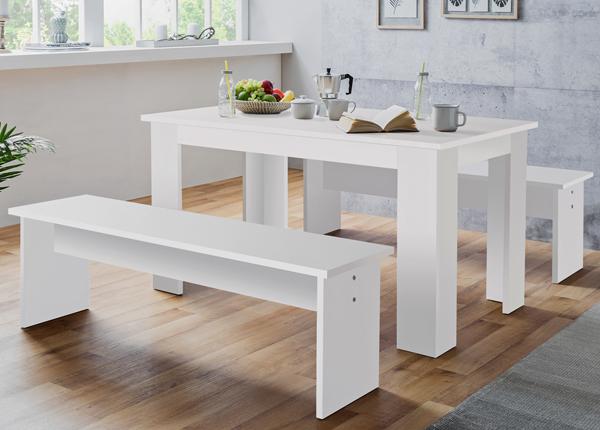 Ruokapöytä 160x90 cm + 2 penkkiä CM-133492