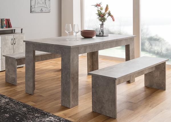 Ruokapöytä 160x90 cm + 2 penkkiä CM-133493