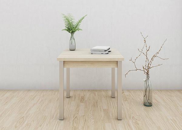 Jatkettava ruokapöytä 80x80-147 cm, valkaistu tammi AY-133732