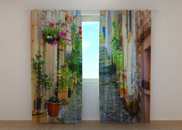 Läpinäkyvä verho BACK STREET IN FLOWERS 240x220 cm ED-133747