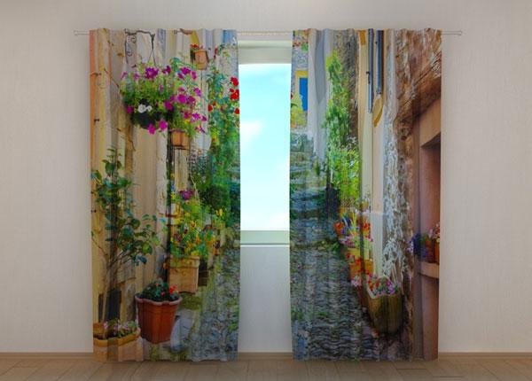 Puolipimentävä verho BACK STREET IN FLOWERS 240x220 cm ED-133749