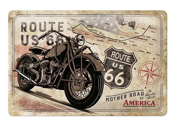 Retro metallijuliste ROUTE 66 MOTHER ROAD OF AMERICA 20x30 cm SG-133789