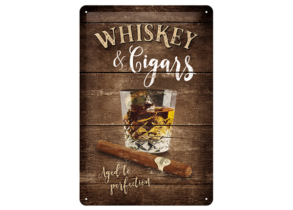 Retrotyylinen metallijuliste WHISKEY & CIGARS 30x40 cm SG-133806