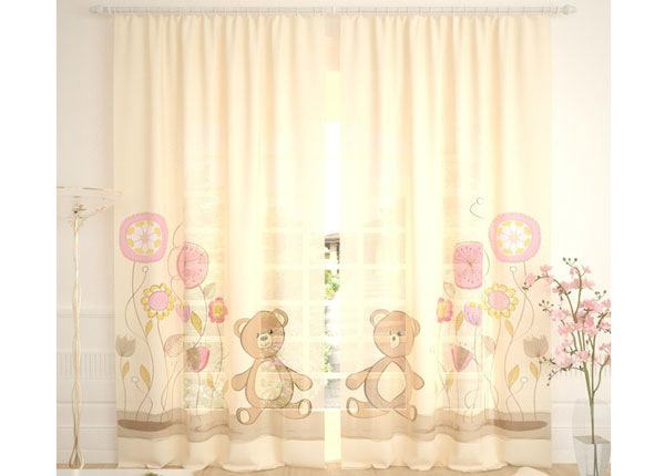 Tylliverhot TEDDY BEAR AND FLOWERS 290x260 cm AÄ-134125