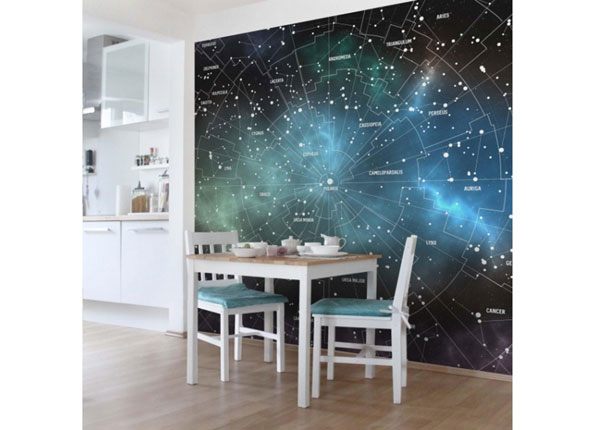 Fleece-kuvatapetti CONSTELLATIONS MAP GALAXY FOG