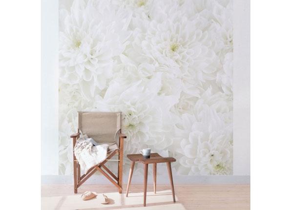 Fleece-kuvatapetti DAHLIAS SEA OF FLOWERS WHITE ED-136639