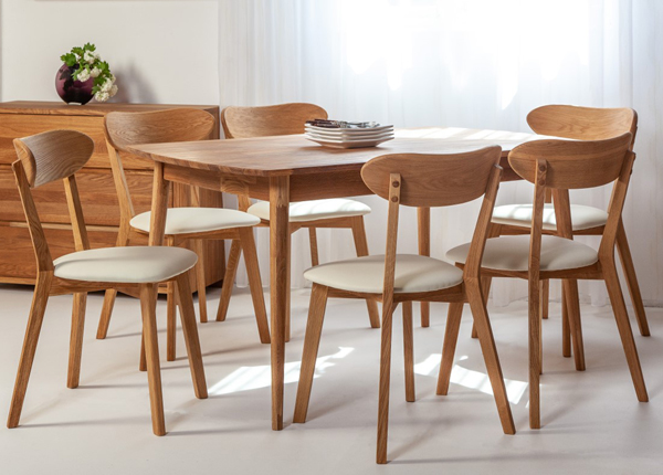 Tammi jatkettava ruokapöytä SCAN 140x90 cm+ 6 tuolia IRMA EC-138006